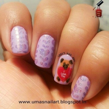 Teddy Day Nails...Valentine Week nail art by Uma mathur