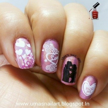 Hug Day Nail Art...Valentine Week nail art by Uma mathur