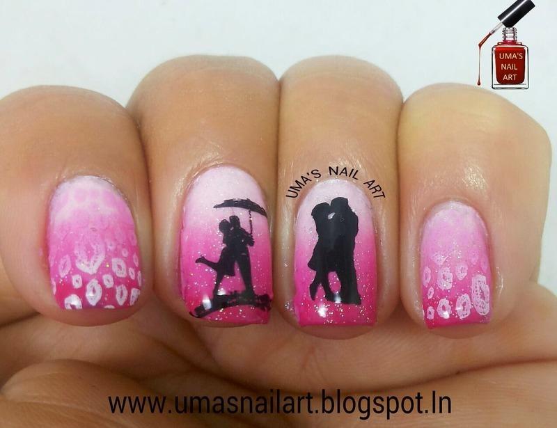 Kiss Day Nails...Valentine Week nail art by Uma mathur