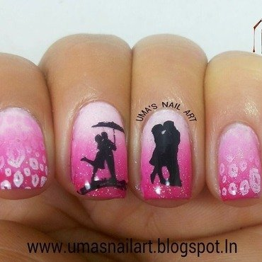Kiss Day Nails...Valentine Week nail art by Uma mathur