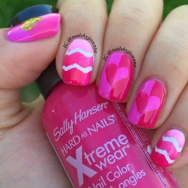 My pink Valentine Hearts nail art by Jonna Dee