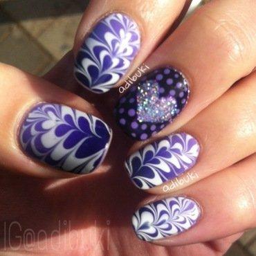 Purple Heart Watermarble nail art by Adi Buki