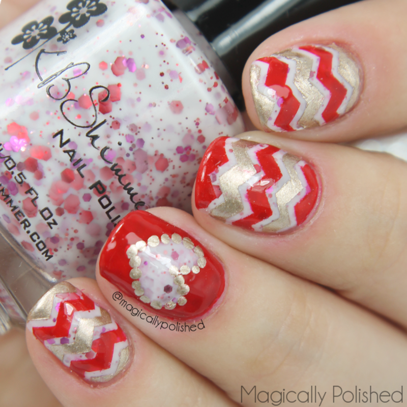 Chevron and Heart Nails nail art by Ana