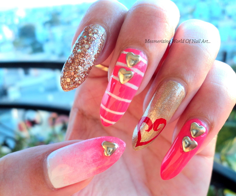 Hearts in love nail art by Anubhooti Khanna