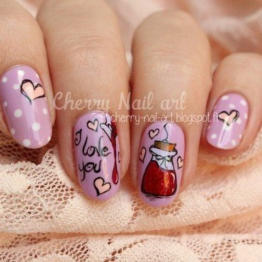 Nail art philtre d'amour nail art by Cherry Nail art