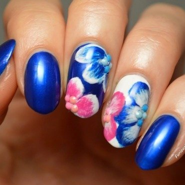 Pansies nail art by Furious Filer