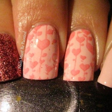 Falling Hearts nail art by Emily