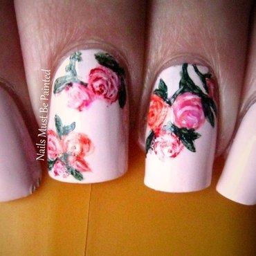 Vintage Valentine nail art by Emily