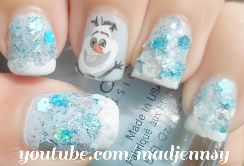 Olaf! Frozen Inspired Nail Art  nail art by madjennsy Nail Art