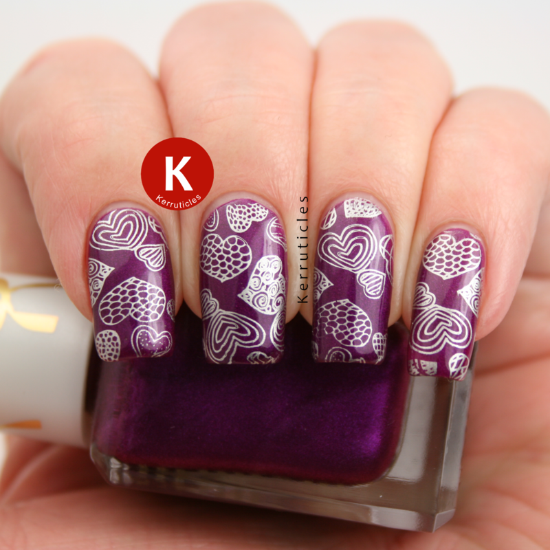 Purple with stamped silver hearts nail art by Claire Kerr