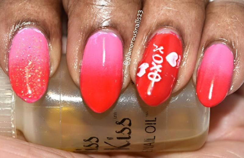 Valentines Ombré & Stamping  nail art by glamorousnails23