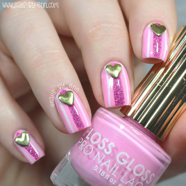 Valentine's Day Nails: Pink Stripes with Heart Studs nail art by Erin
