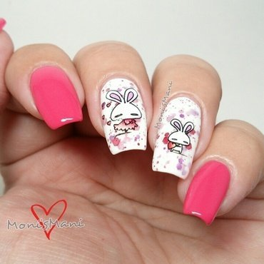 bunnies in love nail art by Moni'sMani