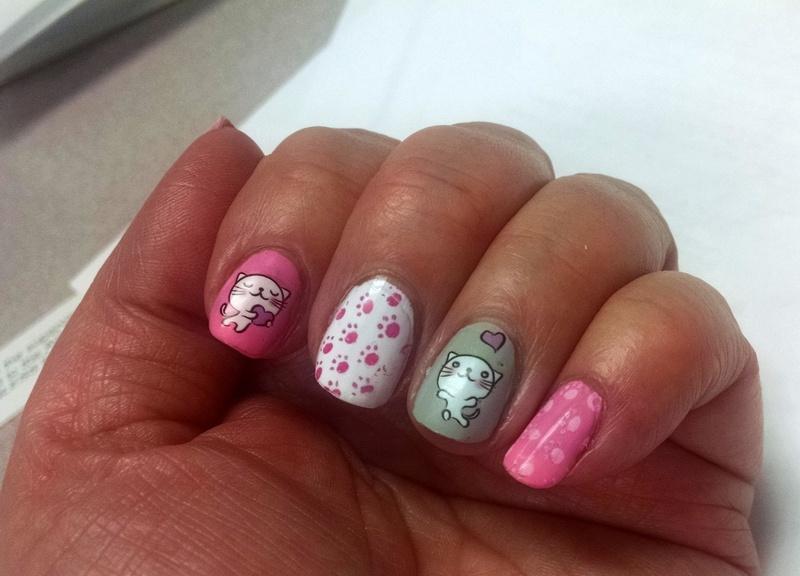 Valentine Kitties nail art by HELEN KAY