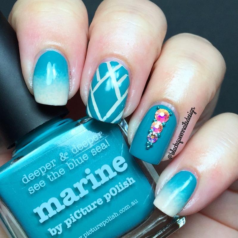 Elegant Blue nail art by Blackqueennailsdesign