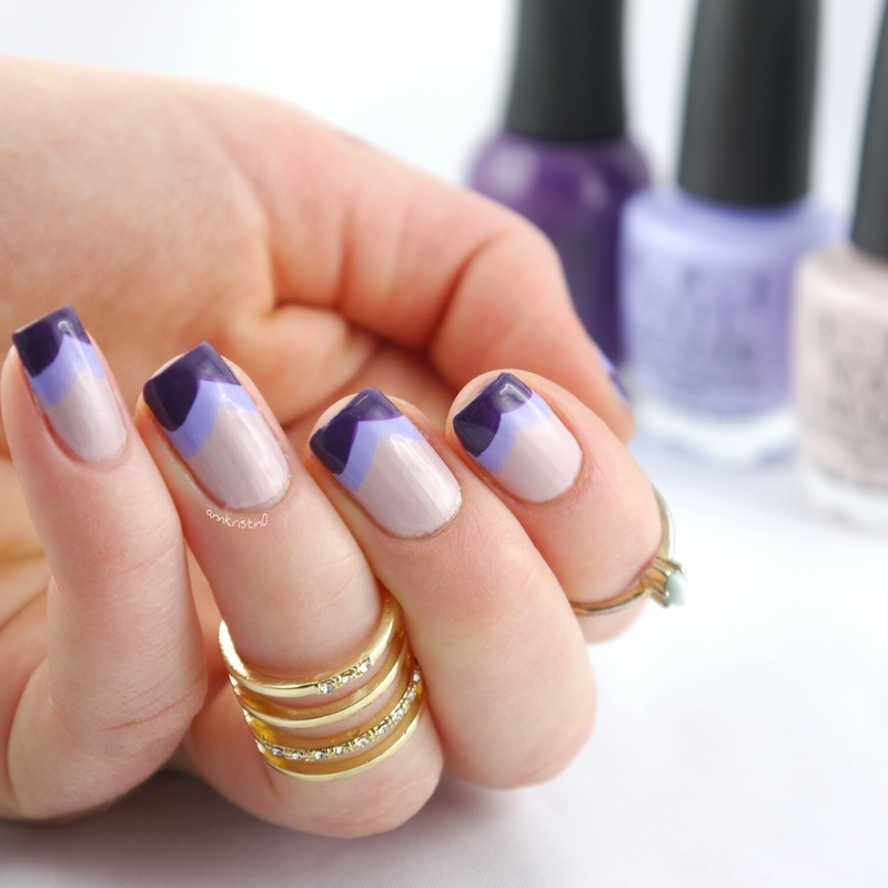 Freehand Purple Chevrons nail art by Ann-Kristin