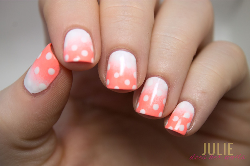 Dotted Peach Gradient nail art by Julie