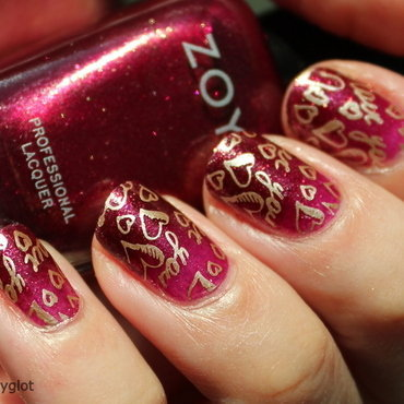 Valentine's Day stamping over gradient nail art by Polished Polyglot