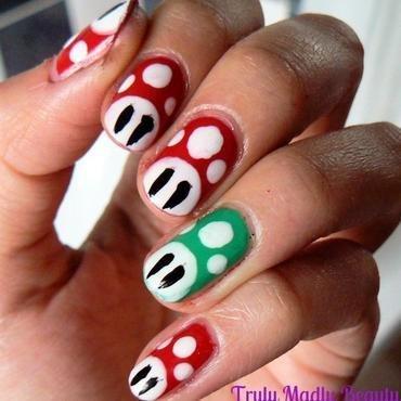 Toadstool Nails nail art by Aysha Baig