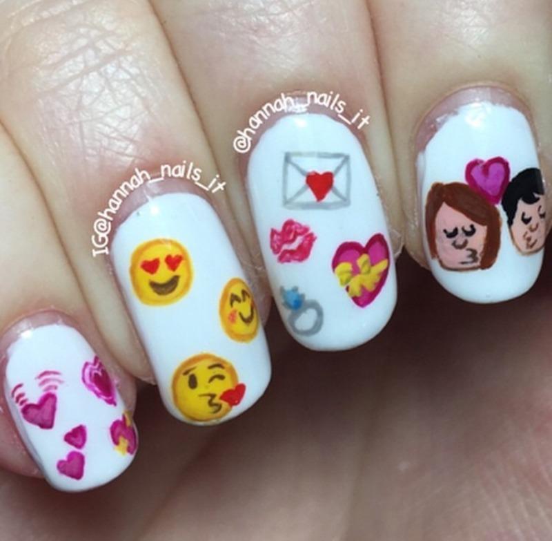 I <3 U nail art by Hannah