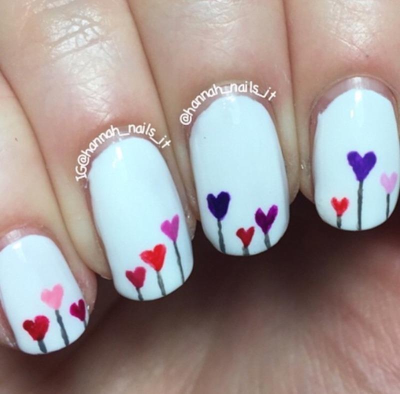 Ruffian hearts nail art by Hannah