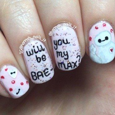 Baymax Valentine nail art by Hannah