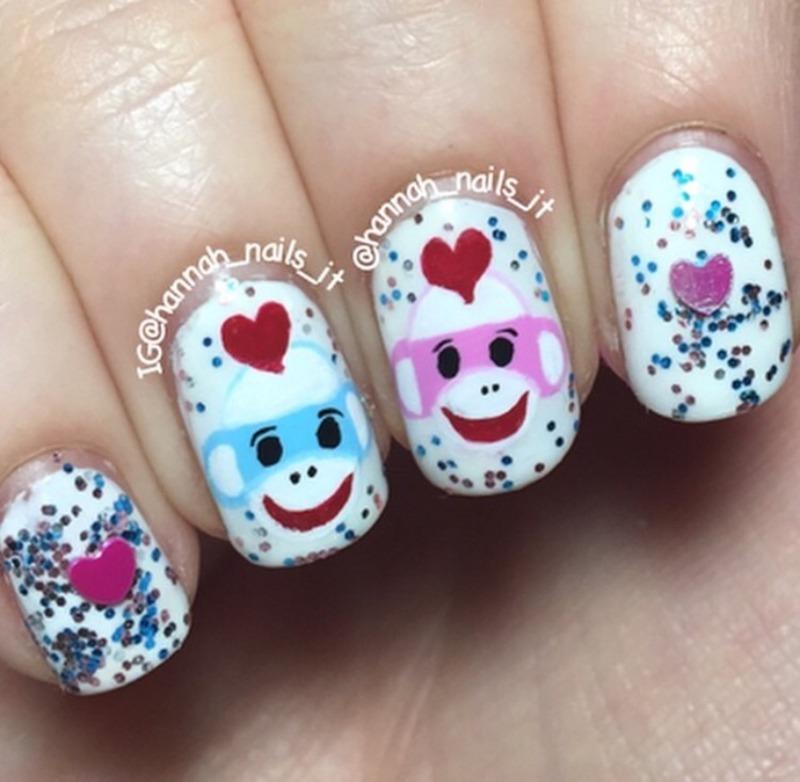 Sock Monkey lovin' nail art by Hannah