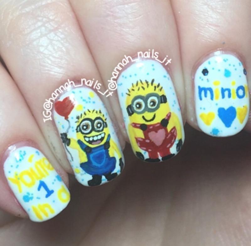 One in a Minion nail art by Hannah