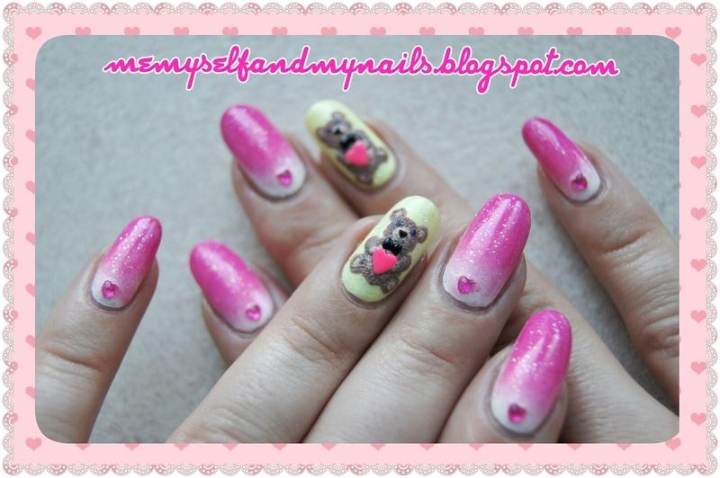 Velentine's Teddy nail art by ELIZA OK-W