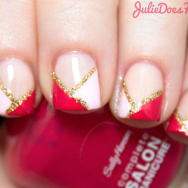 Colorblock Valentine's Day Nails nail art by Julie