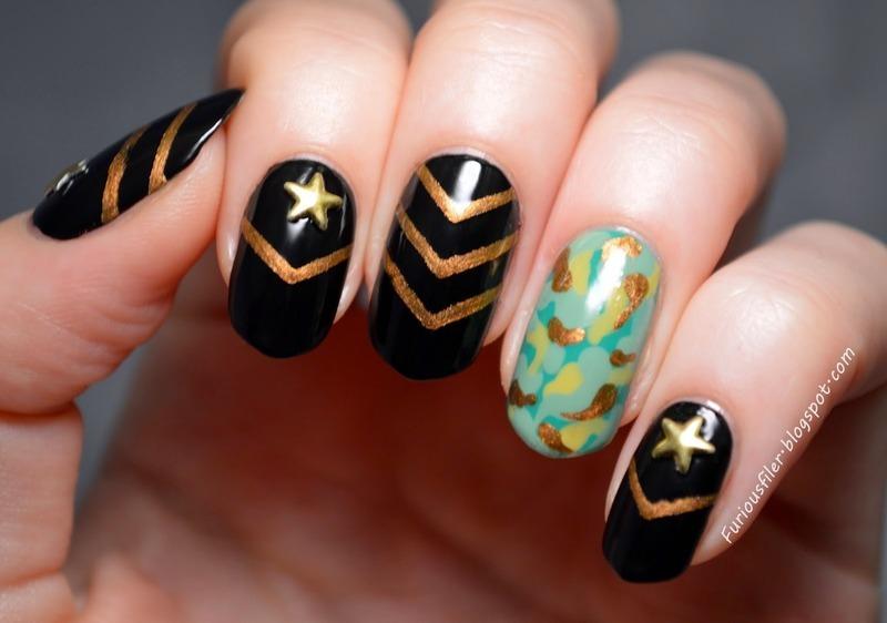 Military nails! nail art by Furious Filer