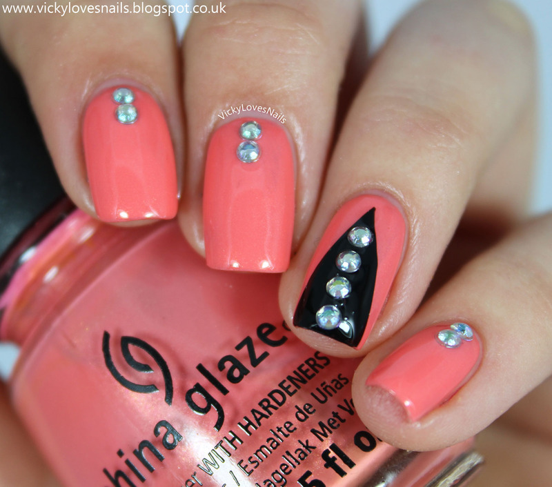 Triangle Accent Nail with Rhinestones nail art by Vicky Standage