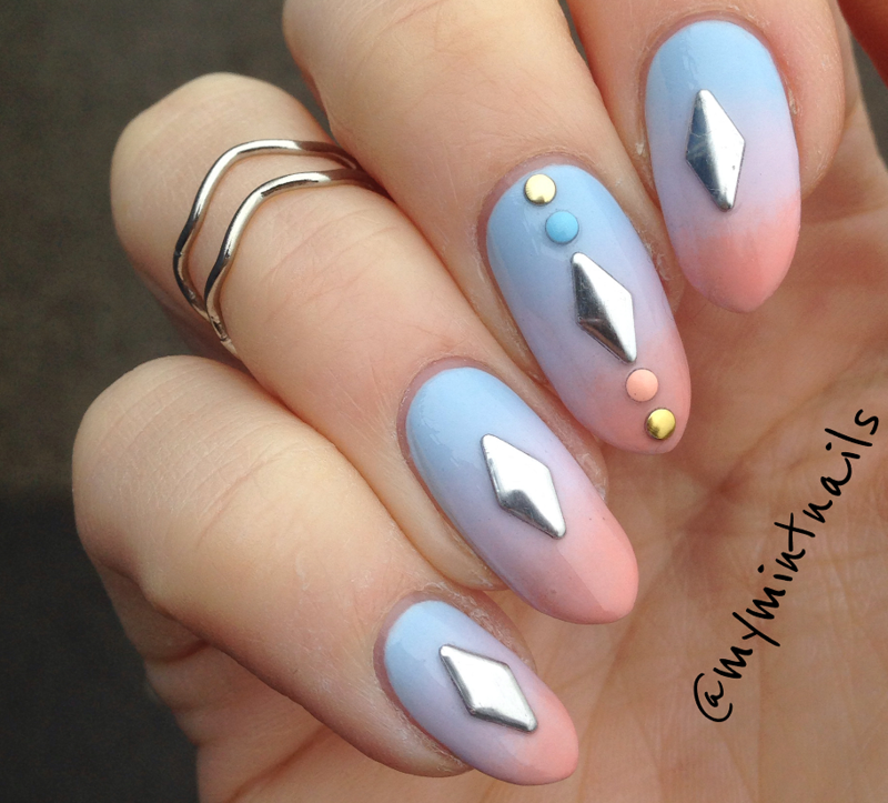 Studded Pastel Gradient nail art by MyMintNails