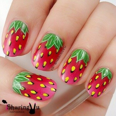 🍓🍓 Strawberies 🍓🍓 nail art by SharingVu