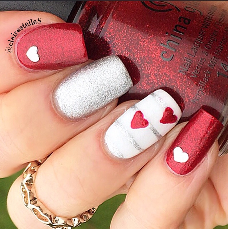 Ruby Pumps and Hearts nail art by Claire O'Sullivan