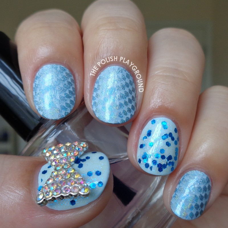 Blue Holographic and White Stamping nail art by Lisa N