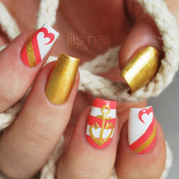 Sailors Valentine nail art by Lily-Jane Verezen