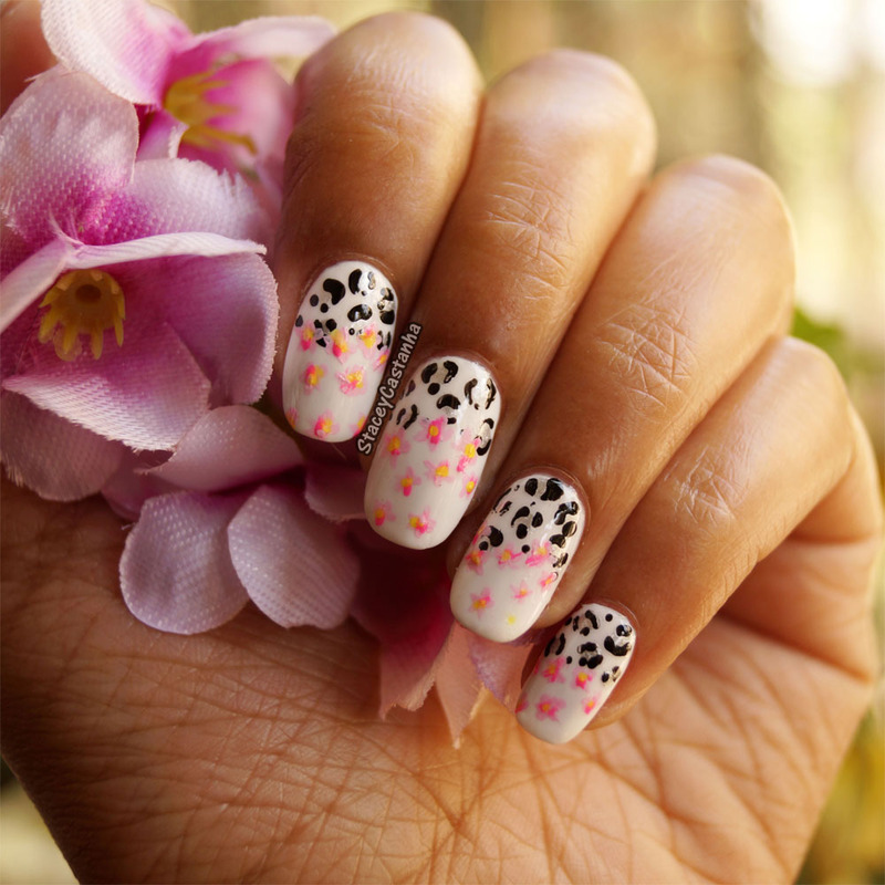 Cherry Blossoms and Leopard nail art by Stacey  Castanha
