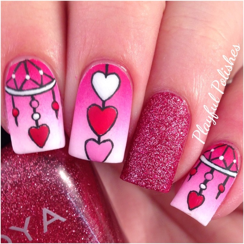 Valentines Day Dream Catcher Nail Art nail art by Playful Polishes