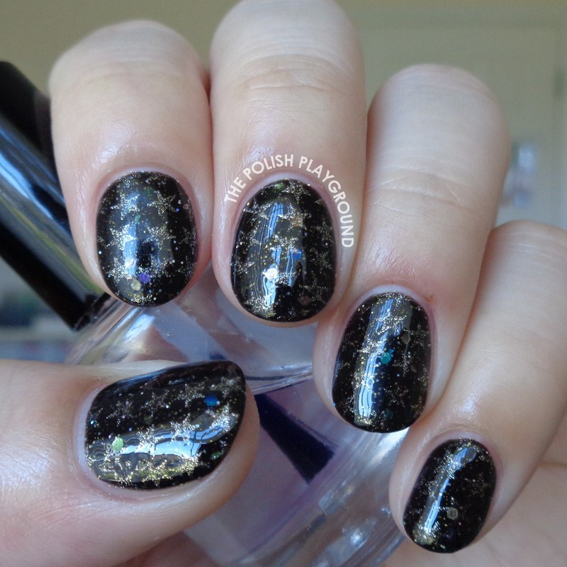 Black Glitter Galaxy with Gold Stars Stamping nail art by Lisa N