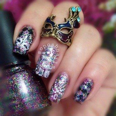 Mardi Gras Nails nail art by Debbie