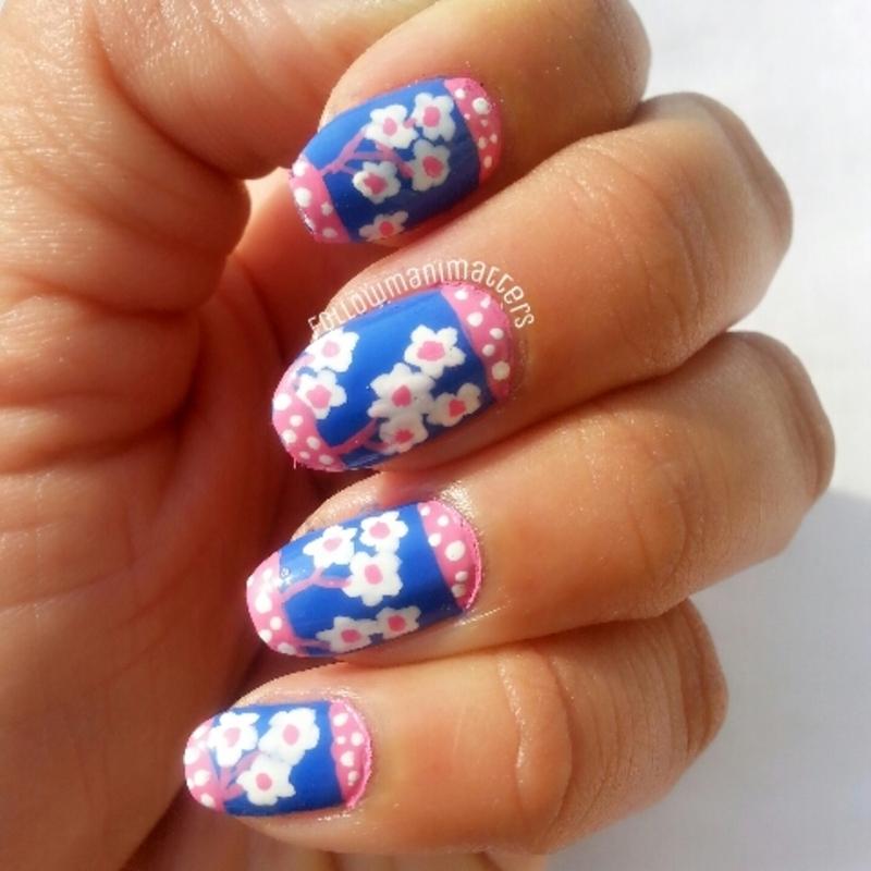 Floral nails inspired by mug nail art by Manisha Manimatters