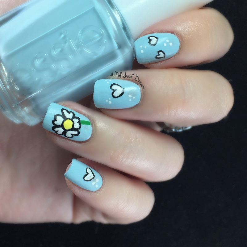 Flower hearts nail art by Amey