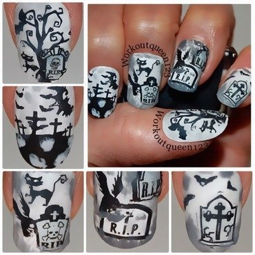 Grave yard nail art by Workoutqueen123