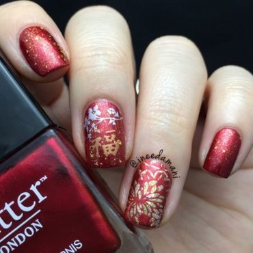 Chinese New Year nail art by Carmen Ineedamani
