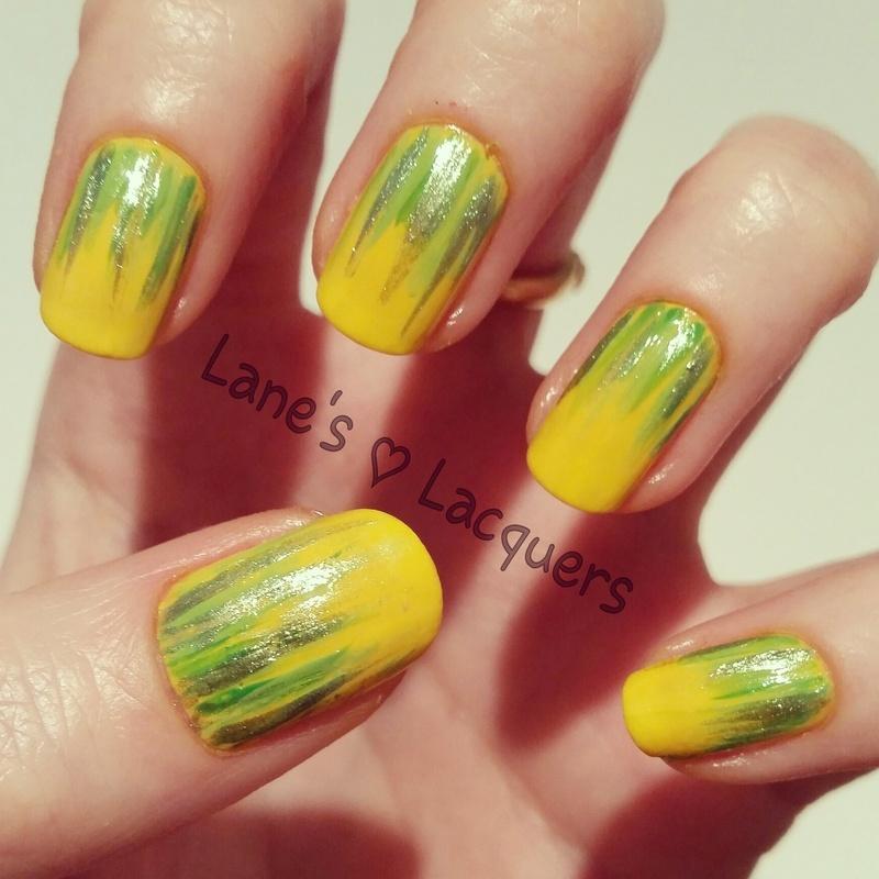 Sunshine & Palm Fronds nail art by Rebecca