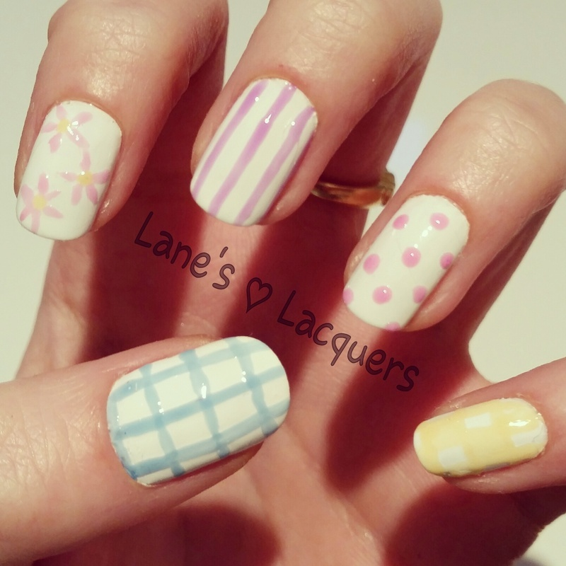 Tea Party Skittle nail art by Rebecca