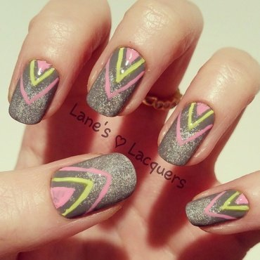 Grey holo base neon chevron freehand nail art thumb370f
