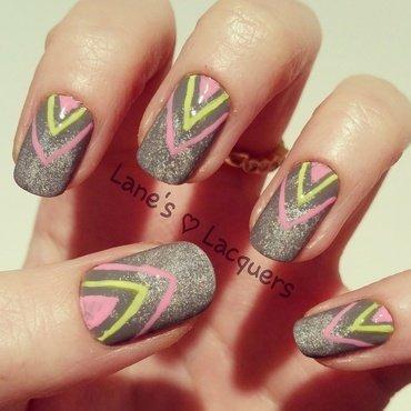 Neon Chevrons nail art by Rebecca