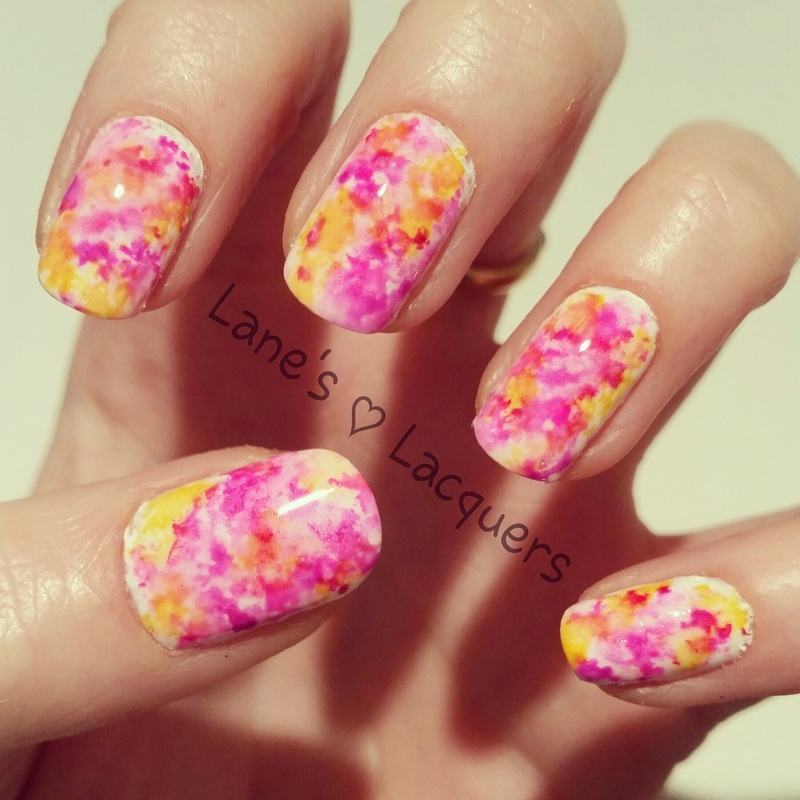 Alcohol Ink Marble nail art by Rebecca